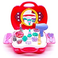 Yoptote Pretend Make Up Set Princess Dress Up with Cosmetic Mirror Salon Hair Dryer Portable Case 21 Pcs Gift Sets Role Play Toys for Girls Kids 3 4 5 Year Old