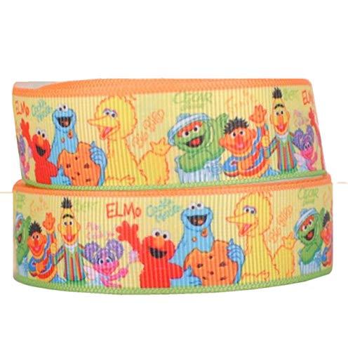 Geschenkband mit Sesamstraße, 2 m x 22 mm, Grosgerippt, ideal für Haarschleifen, Geschenkverpackung, Party-Dekorationen