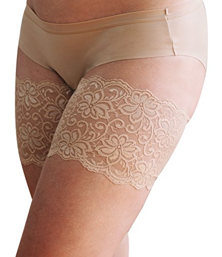 Bandelettes Dolce Elastic Lace Thigh Bands, Prevent Rubbing and Chafing, Beige Size D (68-71 cm/27