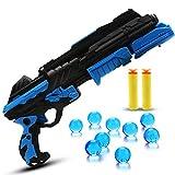 Pistolet Bille Eau, Beetest 2 en 1 Kids Enfants en Plastique Mousse Souple Dart Gun Pistolet Tir Jeu Eau Cristalline Bullet Pistolet Jouet (Bleu)