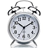 "Sapphire India Alarm Clock for Heavy Sleepers 4"" Twin Bell Vintage Alarm Clock with Backlight, Silent Sweep Seconds Desk Clock for Bedroom, Battery Operated Loud Alarm Clock (Silver)"