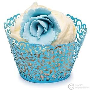 50 Filigraner Schimmer Ranken Cupcake Wrapper Blau - Lasergeschnittenes Törtchen Papier - Cupcake Wrappers