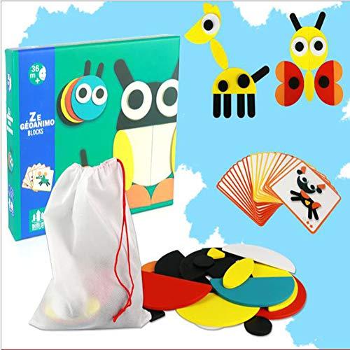RUI - K25 Los Juguetes De Madera para Niños Montessori De La Primera Infancia Son Divertidos Y Creativos 2-3-4-5 Años Luchan Figuras Geométricas Figura Grande Juguetes De Actividad