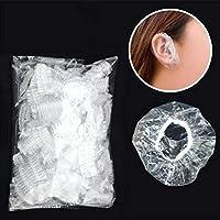 Opfury Protector de Oreja Caps Clear Desechable Impermeable de plástico Suave Protector de Oreja Cubre Las Orejas Baño Lavado Protector para el Cabello para el Cabello Tinte Ducha Baño