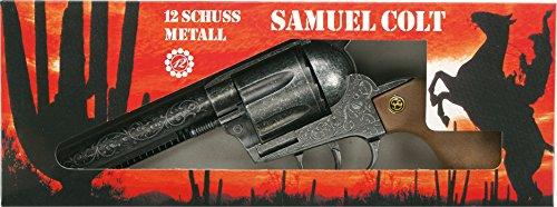 J.G.Schrödel Samuel Colt antik: Spielzeugpistole für Zündplättchen-Munition, in Box, 12 Schuss, passend zum Cowboy-Kostüm, 27 cm, grau / silber (207 0838)
