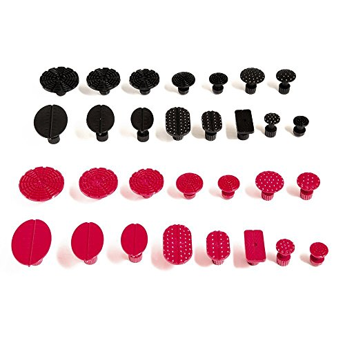 Notail PDR Ausbeul Reparatur, 30PCS Tabs Ausbeulen ohne Lackieren Extractor Werkzeuge (schwarz und rot) (Waschmaschine Extractor)