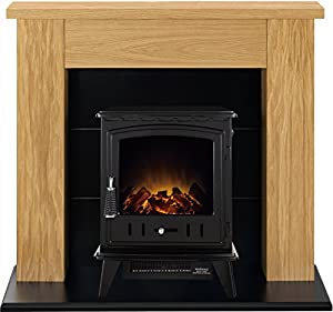 Adam Chester Stove Suite in Oak with Aviemore Electric Stove in Black, 39 Inch