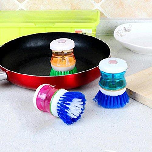 Brosse de nettoyage, Hunpta Utilisation facile Palm Brosse Lavage propre Outil Support Distributeur de savon Brosse lave-vaisselle Brosse aléatoire