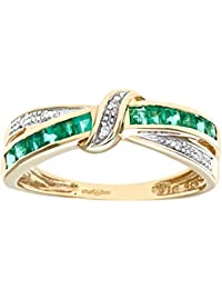 Naava Women's 9 ct Yellow Gold Diamond and Emerald Bow Ring