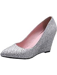 YE Damen Spitze Glitzer High Heels Keilabsatz Pumps mit Absatz 8cm Party Elegant  Schuhe 067fb630f8