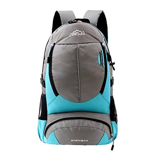 WTUS Unisex Outdoor Bergsteigen Tasche Freizeit Sport Schultertasche Leichtgewicht Wanderrucksäcke Hellblau