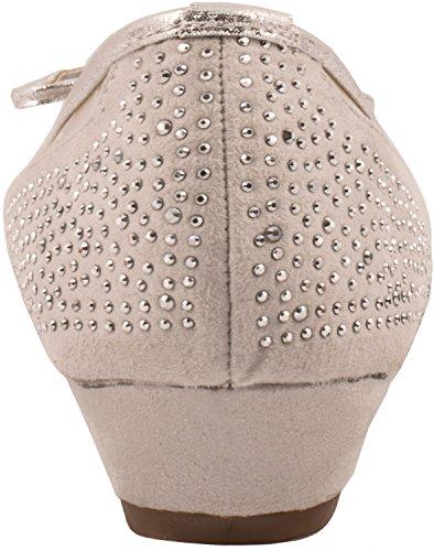Elara Damen Pumps | Bequeme Keil Schuhe | Kleiner Keilabsatz Lederoptik Grau State London