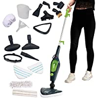 Multi Steam Mop, Power Hand Held 10 in 1 Cleaner for Hardwood Floors, Laminate, & Carpets with 10 Attachments & 2 Microfibre Pads, 1500W by Easy Steam