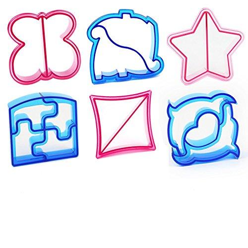 Cortador de Sándwich, Moldes Para Galletas, Cortador de Pan, Set de 6, Mariposas, Dinosaurio, Delfín, Elefante, Estrella,Cuadrado