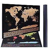 rabbitgoo Weltkarte zum Rubbeln Landkarte zum Freirubbeln Scratch Off World Map Rubbelweltkarte Pinnwand für jeden Globetrotter + Rubbelchip (87 x 54 cm)