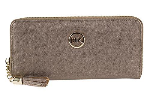 MIK Damen Geldbörse, Trendy Elegant Kunstleder Portemonnaie Geldbeutel und Handytasche in einem (Bronze) (Damen Bronze Geldbörse)