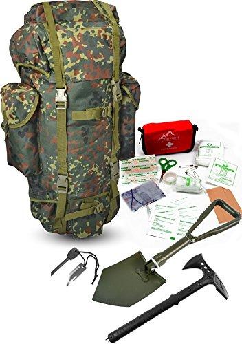Survival Set BW Bundeswehr flecktarn Kampfrucksack + Bundeswehr Spaten nach TL + Tomahawk M48 + Feuerstarter + Erste Hilfe Notfall Kit