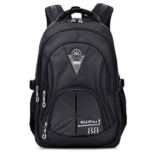 Limirror Schulrucksack Schulranzen Schultasche Sports Rucksack Freizeitrucksack Daypacks Backpack für Mädchen Jungen & Kinder Damen Herren Jugendliche (Schwarz)