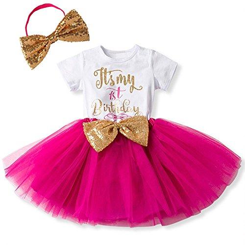 Baby Mädchen Ist es Mein 1. / 2. Geburtstags Kleid Sequin Tütü Prinzessin Glitzernde Bowknot Partykleid Neugeborene Säuglings Kleinkind 1.Weihnachten Fotoshooting Outfits Kostüm Heißes Rosa