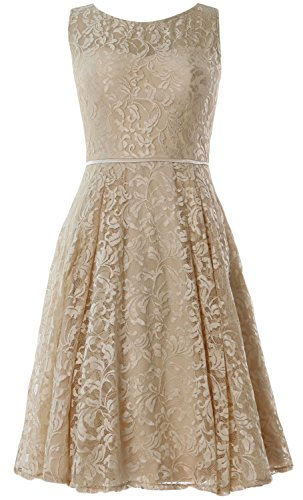 MACloth Women Lace Cocktail Dress Vintage Knee Length Wedding Party Formal Gown Champagner