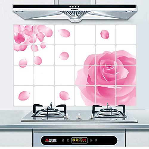 Delleu DIY Romantische Rose Muster Backsplash Öl Proof Wandaufkleber Kunst Aufkleber Wandbilder Abnehmbare Tapeten für Küche (Backsplash-tapeten Küche)