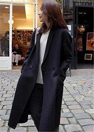 Haroty Cappotto Donna Trench di Lana Invernale e Autunno Giacca Larghi Casual Unicolor Pesanti Outwear Taglie Forti Larghe Tops Nero
