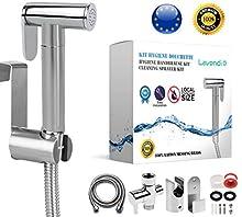 LAVENDI - Kit douchette wc toilettes bidet hygiénique - Taille 3/8' 12/17 I Qualité laiton premium avec adaptateur robinet d'arrêt flexible et support I Tailles standards France