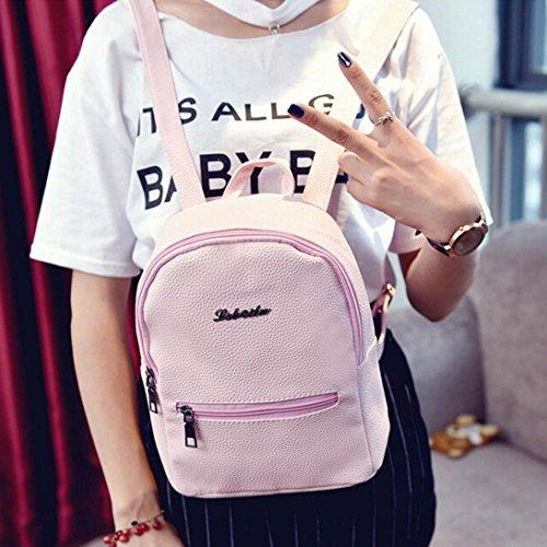 BZLine® Frauen Leder Tasche Travel Rucksack Ranzen Frauen Schulter Rucksack Pink