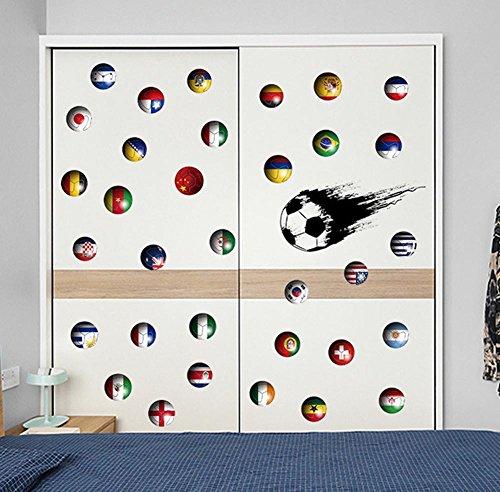 BIBITIME Fans Speed Fußball Ball Wand Aufkleber World Cup Thema Land Flagge Bälle Uns Brasilien Russland Vinyl Decals für Kinderzimmer Schlafzimmer Laptop Cover Auto Fenster Aufkleber DIY -