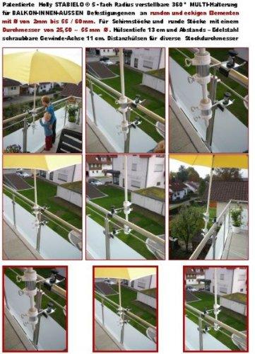1 pièce - 360 ° Verticale ou horizontale anbringbare Bec breveté écrans balcon - Support pour stöckevon amovible léger 25 jusqu'à Ø 37 mm de Holly Stabielo avec 13 cm 15,24 x Douille et 11 cm longue distance de Axe pour filetage - Holly® produits Stabielo Holly-Sunshade® - Chez schirmen Bâtons jusqu'à Ø 55 mm 2 supports ou 2 TE Fixation utiliser pour des raisons de sécurité (serre-câbles)