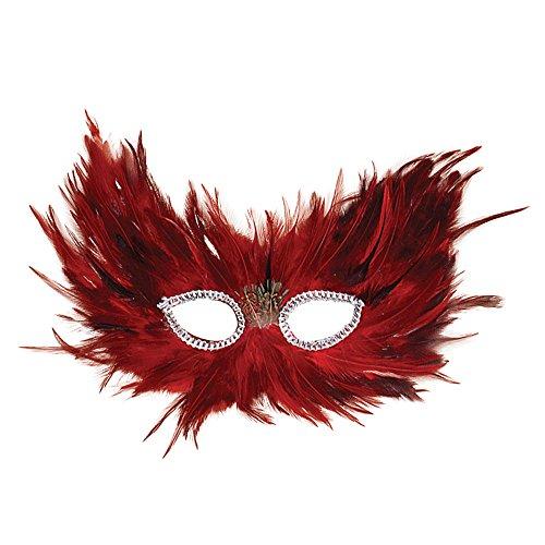 1 Feder Augenmaske, Rot/Schwarz, Damen, Einheitsgröße ()