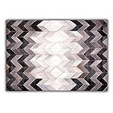 Livorio Designer Patchwork Kuhfell-Teppich - B120 x L180cm - weiß grau schwarz Fischgrät