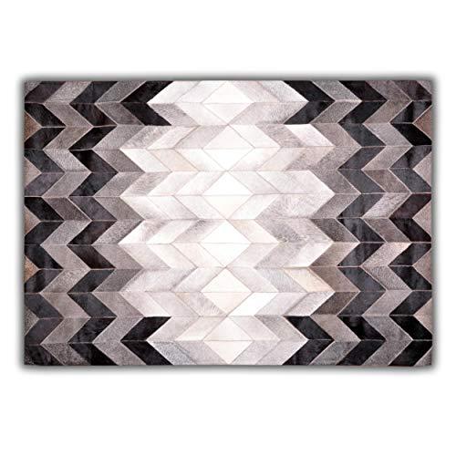 Livorio Designer Patchwork Kuhfell-Teppich - B120 x L180cm - weiß grau schwarz Fischgrät - Grau Fischgrät Wolle