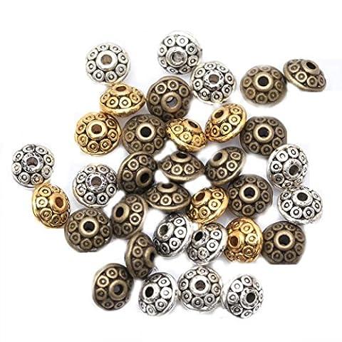 ILOVEDIY 100PCS Breloque Perles Tibetaines Bronze Argent Perles mêlé Pour