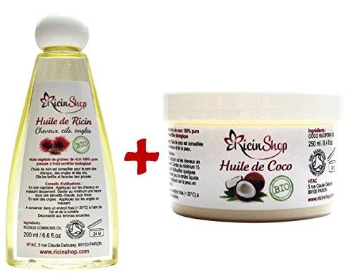 Huile De Ricin Bio et Huile de Coco Bio premium haute qualité special soin des cheveux