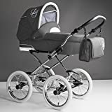 Bebebi Loving | 3 in 1 Kombi Kinderwagen Komplettset | Nostalgie Kinderwagen | Farbe: Grey Tender