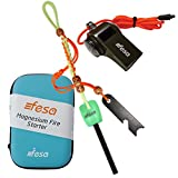 #4: fesa Limited Edition Survival Gear - Indoor Outdoor Magnesium Flint Fire Starter, 3 in 1 Whistle, Wood Shavings.