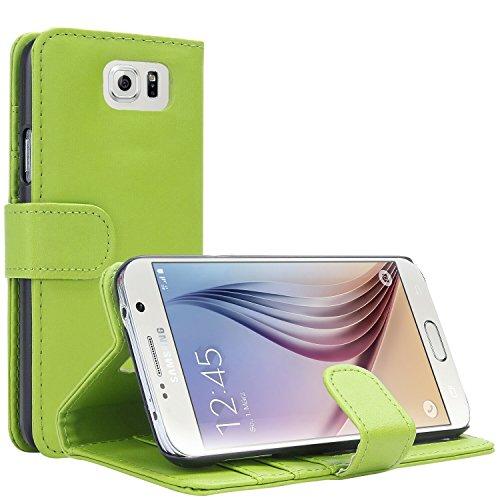 Samsung Galaxy S6 Hülle, EnGive Ledertasche Schutzhülle Case Tasche mit Standfunktion & Karte Halter Grün