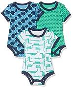 Care Baby - Jungen Kurzarm-Body im 3er Pack, Mehrfarbig (Winter Green 931), 12 Monate (Herstellergröße: 80 )