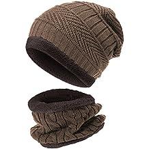 48ca8a72a1 UPhitnis Warme Kinder Beanie Mütze und Loop Schal Set | Dehnbar Weiches  Wintermütze und Winterschal Für