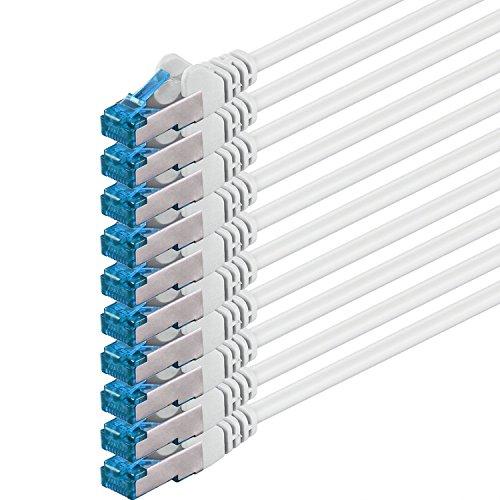 1aTTack 42503448317850.5m Cat6A SF/UTP (S-FTP) weiß–Netzwerkkabel (0,5m, Cat6A, RJ-45, RJ-45, SF/UTP (S-FTP), weiß)