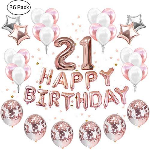 IEONGI 21 Jahre Geburtstag Party Ballons Dekoration Rose Gold, Set 12 Zoll Konfetti Dekor Party Lieferungen Party Kit Banner Rose Gold Konfetti Ballons einstellen Star Mylar Süß (Mit Band)