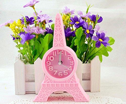 Preisvergleich Produktbild ZHGI Eiffel Tower Clock minimalistischen Creative Home Office Studenten mini alarm Wecker, Pink