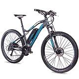 CHRISSON 27,5 Zoll E-Bike Mountainbike - E-Weger grau blau 53 cm - Elektro Fahrrad für Herren und Damen - 27 Gang Shimano Altus Kettenschaltung - Pedelec mit Bafang Hinterradmotor 250W, 45Nm
