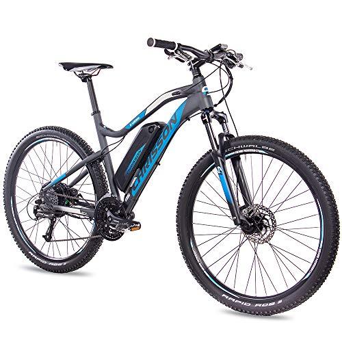 CHRISSON 27,5 Zoll E-Bike Mountainbike - E-Weger grau blau 48 cm - Elektro Fahrrad für Herren und Damen - 27 Gang Shimano Altus Kettenschaltung - Pedelec mit Bafang Hinterradmotor 250W, 45Nm
