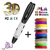 Penna 3D con Schermo LCD,Fede Penna 3D con 12 Filamenti 1,75mm PLA Supplementari e Colori Diversi,Ogni di 3,3 Metri e Totale di 39,6 Metri,Penna Stampata 3D è un Regalo Perfetto per Bambini,Adulti