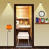 FCFLXJAdesivi per porte 3D sauna camera poster murale carta da parati casa sfondo camera da letto decorazione porta in PVC carta autoadesiva Tridimensionale Autoadesivoadesivi stampa77x200cm