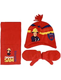 Boys Red Fireman Sam Winter Beanie Hat Scarf Mittens 3 Piece Set Age 1-3 Years