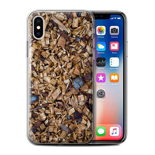 Stuff4 Gel TPU Hülle / Case für Apple iPhone X/10 / Algen/Grün Muster / Baumrinde Kollektion Holzhackschnitzel