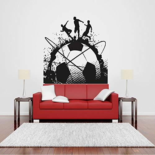guijiumai Große Tinte Fußball Kunst Decals Fußballspiel Spieler Ball Sport Wand Vinyl Aufkleber Kinder Mädchen Jungen Schlafzimmer Kopfteil Wandbilder weiß 71x57 cm -